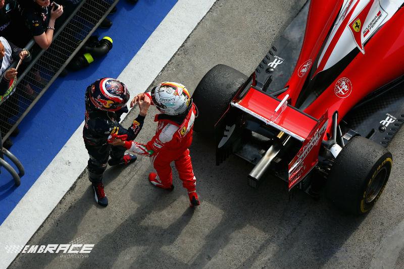 Kvyat Vettel China Parc fermé